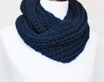 Blue Crochet Infinity Scarf, Plush Cowl, Chunky Navy Blue Neck Warmer - Dark Blue