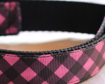 "Pink and Black Buffalo Check Dog Collar - Side Release Buckle (1"" Width) - Martingale Option Available"