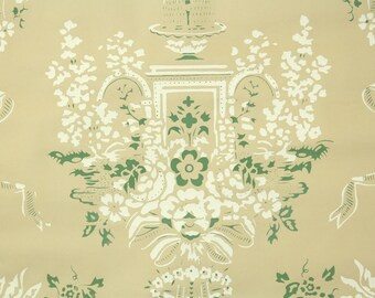 1950s Vintage Wallpaper by the Yard - Floral Wallpaper with White and Green Roses