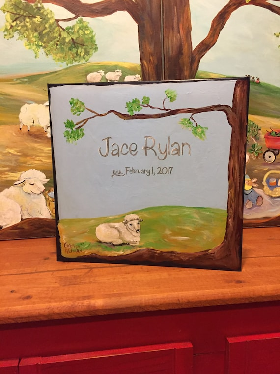 Little Lamb Baby Memory Book | Hand Painted CoverSweet Baby Lamb Keepsake Book |  Personalized Scrapbook Style Baby Book