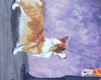 """Print Sale...Welsh Corgi Art Matted Print from Original Painting """"In the Show Ring II"""" by artist Ann Becker...choose size"""