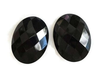 Black Faceted Lucite Earrings Large Vintage Statement
