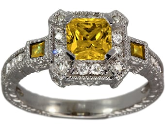 Princess Cut Yellow Sapphire Ring ,Best Selling Items, Art Deco Jewelry, Alternative Engagement Ring, Vintage Ring, Filigree Ring, 14K Gold