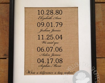 Elegant Important Dates Burlap Print | What a difference a day makes! | Anniversary, Mother's Day, Christmas Gift | Frame not included