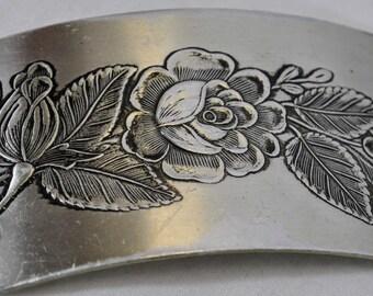 Vintage Mid Century Aluminum Belt - Link Floral Lightweight Concho Chain