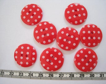 15 pcs of   Polka Dot  Button in  Red  - 23mm