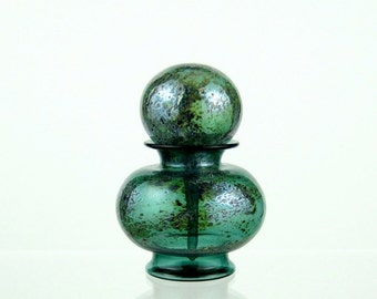 Hand Blown Glass Perfume Bottle in Teal Green and Silver