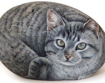 Original Cat Portrait Hand Painted on a Sea Rock   Pet Portraits on Commission Finely Detailed by the Artist Roberto Rizzo