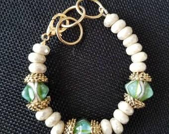 Green wrist bauble bead bracelet with Czech glass sparkle