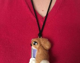 Needle felted rabbit/bunny pendant/Wool made/Unico/felt needle/felted