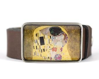 Kiss belt buckle, Womens belt buckle, Klimt Belt Buckle, Fine Art Belt Buckle, gift for her
