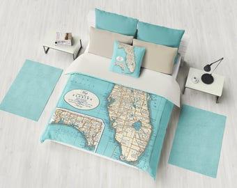 Florida State Coastal Map Duvet Cover or comforter - bed - bedroom, surfer, travel decor, cozy soft, Florida Keyes Coastal Decor