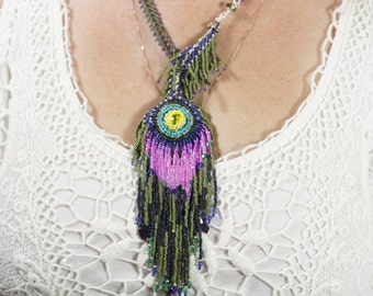 Peacock Feather Necklace, Beadwork Necklace, Seed Beaded Necklace, Lariat Neckalace and Earrings