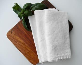White Linen Napkins, Farmhouse Napkin, Organic Table Napkins, Rustic Chic Napkin
