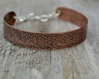 Sterling Copper Bangle. Rolling Mill . Sterling Silver . Cold Connections . Rustic . Earthy . Boho .