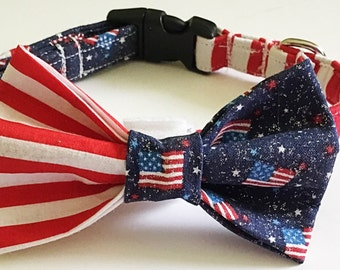 Red, White & Blue Patriotic Bow Tie Collar for Male Dog or Cat