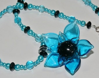 Glass Blue & Black Flower Pendant with Black Glass and Round Blue Pearls Handmade Ladies Necklace