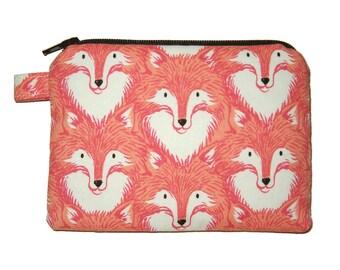 Red Fox Coin Purse - Small Zipper Pouch - Fox Change Purse - Red Fox Purse - Coin Pouch - Animal Purse - Fox Bag