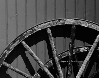 Wagon Wheel Fine Art Photography Farm Country Barn Rustic Black and White Grey Gray Weathered Wood Farmhouse Home Decor Wall Art