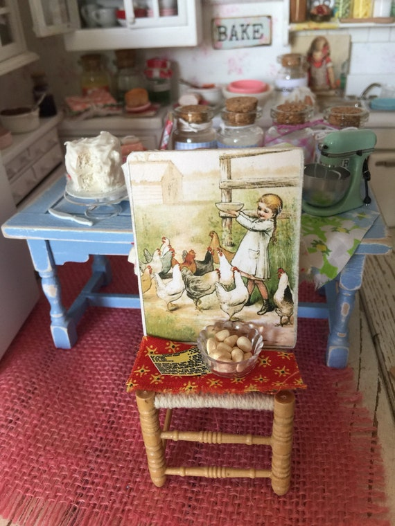 """Vintage Country Girl and Chickens Sign Miniature 1 1/2"""" x 2 1/4"""""""