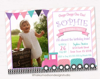 Choo Choo Trian Birthday Invitation, Girl Choo Choo Train Birthday Party Invitation, DIGITAL FILE