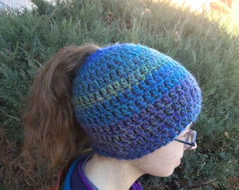 Messy Bun/Ponytail Crochet Hat