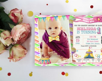 Watercolor Circus Birthday Invitation for girl. Carnival Birthday Party. Circus invite with/without photo. Any Age. Digital