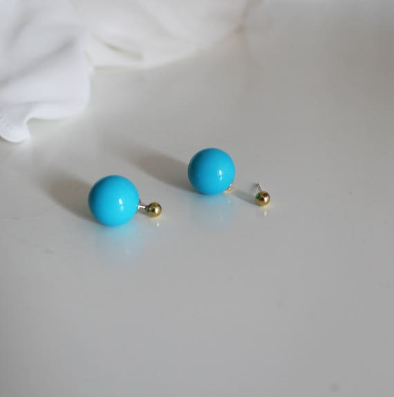 Earrings ball front back, blue earrings, dangle earrings, Stud Earrings
