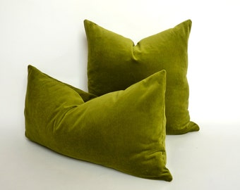 olive green velvet pillow case // chartreuse green velvet pillow // lime green velvet