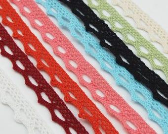 "10 Yards 3/4"" 10mm Cotton lace Ribbon Trim Dress Cluny Lace Embroidery Wedding Crafts Sewing Fiber YA01"