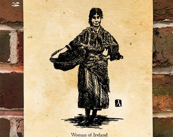 "KillerBeeMoto: Limited Hand Drawn Print of ""Woman of Ireland"" Print 1 of 100"