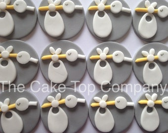 Baby Stork Cupcake Toppers - Great for a Baby christening or baby shower