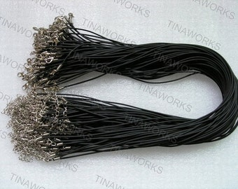 30pcs 17'' Black Rubber Cord Necklace With Lobster Clasp&5cm Extension Chain size 2.0mm