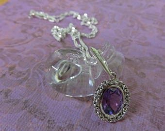 Alexandrite Necklace - Beautiful Faceted Lab-Grown Alexandrite and Sterling Silver / Fine Silver-Plated Necklace
