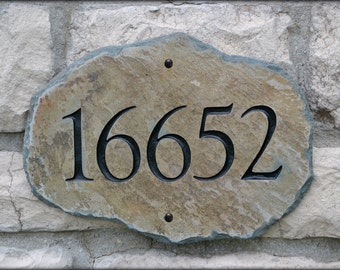 NATURAL ADDRESS STONE Mailbox Marker / House plaque/ Home Number Sign Column #4S