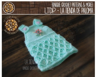 """INSTANT DOWNLOAD - Crochet Pattern for Waffle """"Gaufre"""" Dress/Overalls/Romper"""