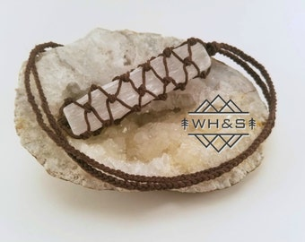 Hemp Wrapped Rough Selenite Necklace, Raw Selenite Jewelry, Healing Crystal Jewelry, Healing Crystal Necklace, Mineral Pendant