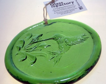 Recycled glass hummingbird suncatcher, green hummingbird ornament, window art