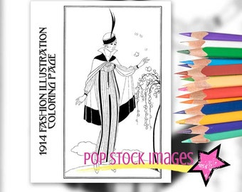 Coloring Page Printable - Vintage Fashion Illustration - Digital Stamp - 1914 French Fashion Illustration - Adult Coloring Page
