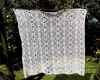 Soviet Vintage: Small Cotton Lace Curtain Fabric - Geometric Ornaments - Russian Romantic Home Decor- Retro Curtain- Decorative Lace Curtain