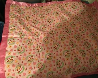 "Handmade Toddler Bed Crib Blanket Cotton 36"" x 44"" Strawberry Shortcake"