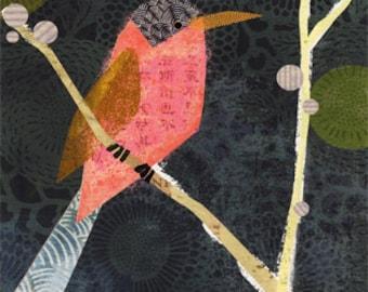 Collage Bird Archival Print (grey) 8x10 Wall Art - Art Poster