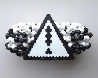 Custom black and white floss perler cuff