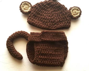 Baby Monkey Jungle Costume, Baby Monkey Outfit, Newborn Photo Prop, Baby Shower Gift, Gift For New Mom, Coming Home Outfit, Cake Smash,