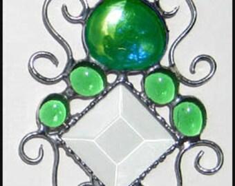 """Stained Glass Sun Catcher,  Suncatcher, Green Glass Nuggets, Stained Glass Sun-Catcher,Decorative Wire Work - 4 1/2 x 8""""- 201-GR"""