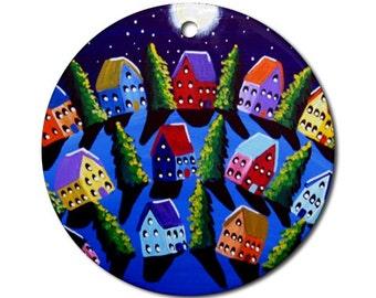 Peace Landscape 5  Folk Art Fun Whimsical Colorful Round Porcelain Ornament