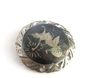 Vintage Silver Siam Pin, Indonesian Dancer Brooch, Sterling Pin, Vintage Brooch, Collectible Vintage Brooch, Sterling Silver Ethnic Pin