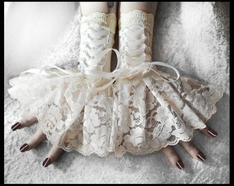 Gloves Fingerless Wrist Cuffs | Corset Laced Up | Ivory Lace White Ribbon | Bridal Gloves Wedding Cuffs Lolita Arm Warmers Rococo | Solstice