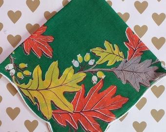Vintage Handkerchief, Autumn Leaves, Gold, Orange and Green, Scalloped Border, Vintage Linen