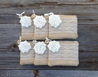 6 Rustic Bridesmaid Clutches, Personalized Wedding Purses, Wedding Clutches, Bridesmaid Gifts, Mother of the Bride Gift, Personalized Clutch